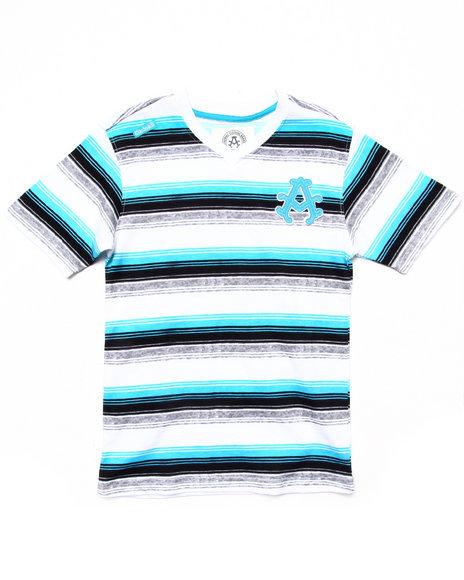 Akademiks - Boys Blue Striped V-Neck Tee (8-20)