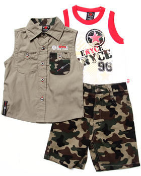 Enyce - 3 PC SET - SLEEVELESS WOVEN, TANK & CAMO SHORTS (2T-4T)