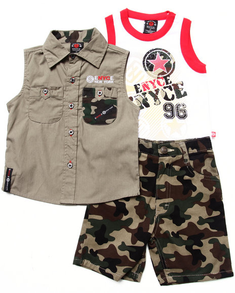Enyce Boys Camo 3 Pc Set Sleeveless Woven, Tank & Camo Shorts (2T-4T)