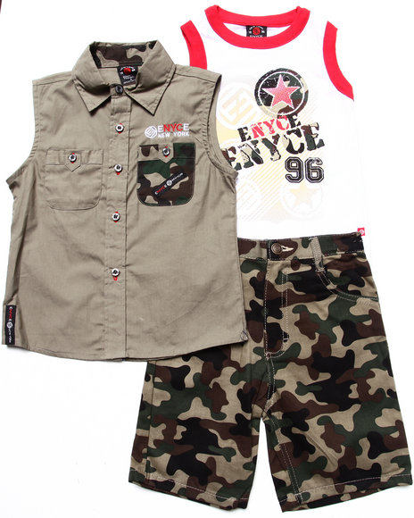 Enyce Boys Camo 3 Pc Set Sleeveless Woven, Tank & Camo Shorts (4-7)