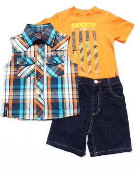 Enyce - 3 PC SET - SLEEVELESS PLAID WOVEN, MUSCLE TEE, & SHORTS (2T-4T)