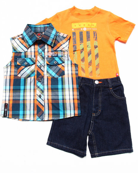 Enyce Boys Orange 3 Pc Set Sleeveless Plaid Woven, Muscle Tee, & Shorts (2T-4T)