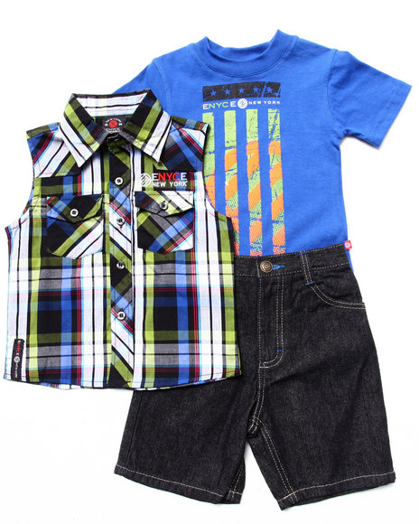 Enyce Boys Blue 3 Pc Set Sleeveless Plaid Woven, Muscle Tee, & Shorts (2T-4T)
