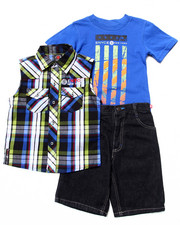 Enyce - 3 PC SET - SLEEVELESS PLAID WOVEN, MUSCLE TEE, & SHORTS (4-7)