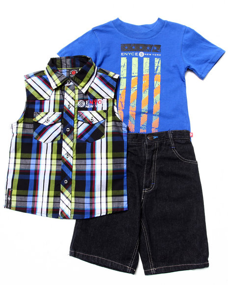 Enyce Boys Blue 3 Pc Set Sleeveless Plaid Woven, Muscle Tee, & Shorts (4-7)