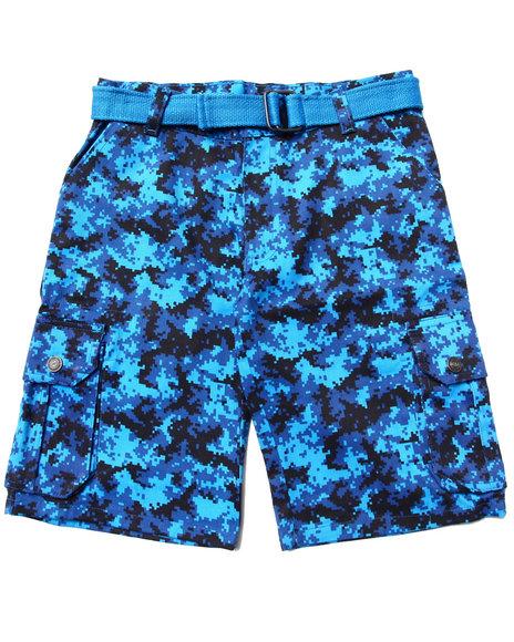 Enyce Boys Blue Belted Digi Camo Cargo Shorts (8-20)