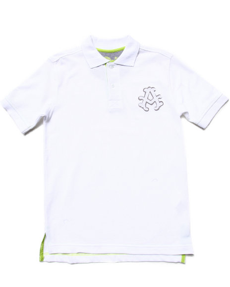 Akademiks - Boys White Solid Pique Polo (8-20) - $10.99