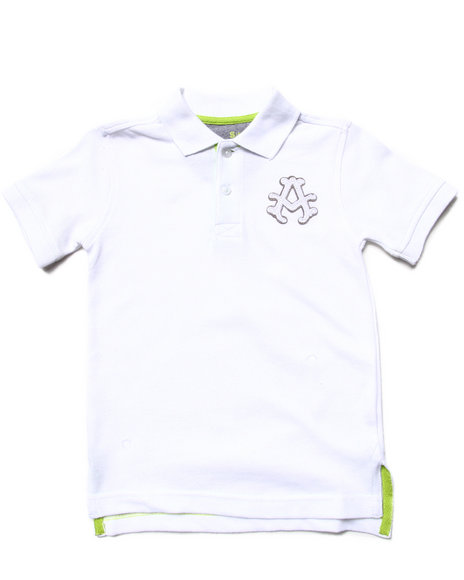 Akademiks - Boys White Solid Pique Polo (4-7) - $8.99
