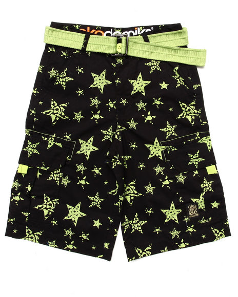 Akademiks - Boys Lime Green Star Print Shorts (8-20)