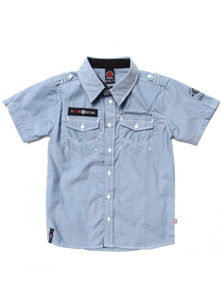 Enyce Boys Medium Wash S/S Chambray Woven (8-20)