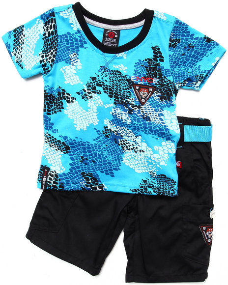 Enyce Boys Blue 2 Pc Set Camo Tee & Shorts (2T-4T)
