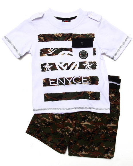 Enyce Boys Olive 2 Pc Set Pocket Tee & Digi Camo Cargo Shorts (2T-4T)