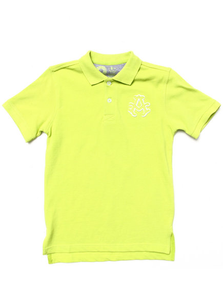 Akademiks - Boys Lime Green Solid Pique Polo (4-7)