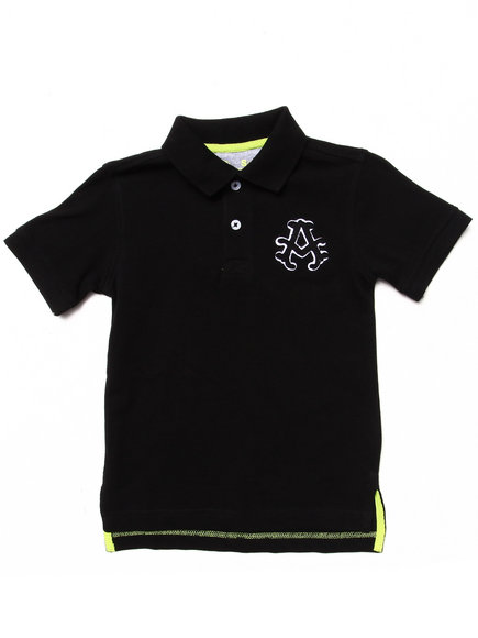 Akademiks - Boys Black Solid Pique Polo (4-7)