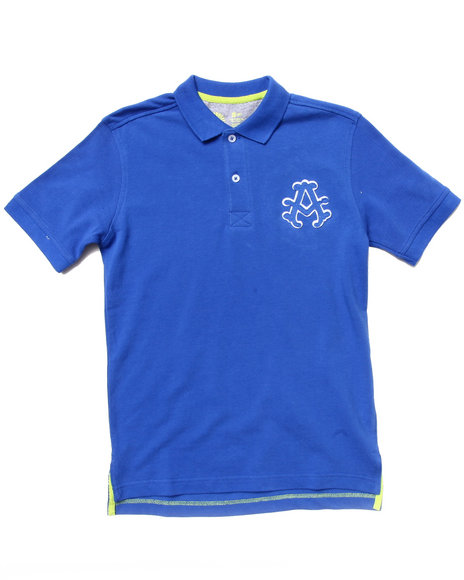 Akademiks Boys Blue Solid Pique Polo (8-20)