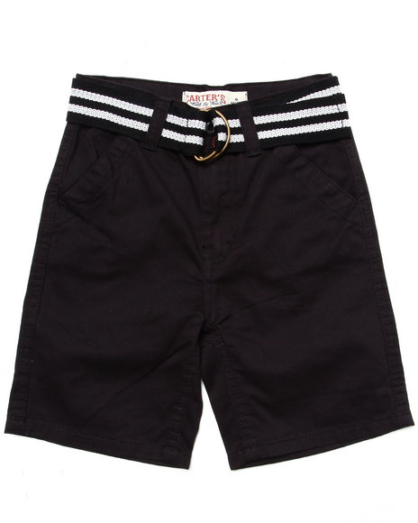 Arcade Styles - Boys Black Belted Twill Shorts (4-7) - $13.99