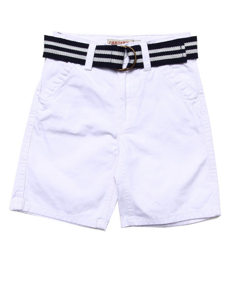 Arcade Styles - Boys White Belted Twill Shorts (4-7)