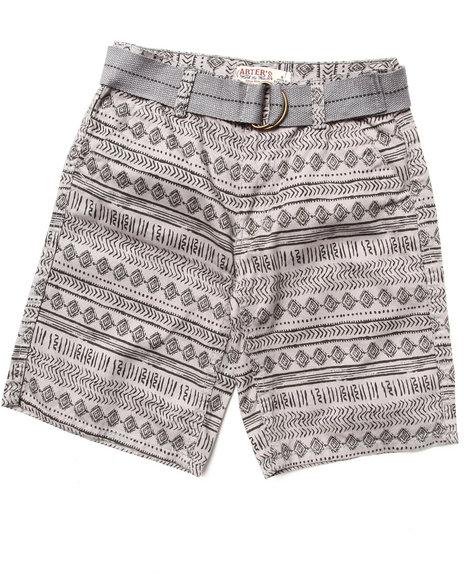 Arcade Styles - Boys Grey Aztec Print Shorts (8-20)