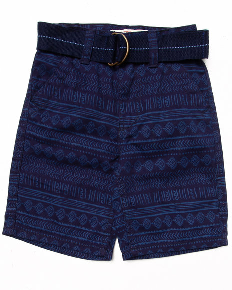 Arcade Styles - Boys Navy Aztec Print Shorts (4-7) - $10.99