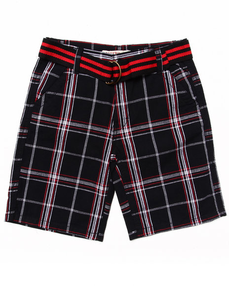 Arcade Styles - Boys Black Belted Plaid Shorts (8-20) - $9.99