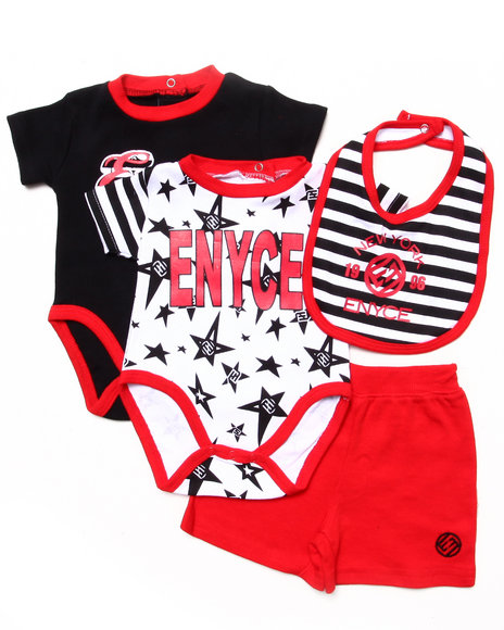 Enyce Boys Red 4 Pc Set 2 Bodysuits, Shorts, & Bib (Newborn)