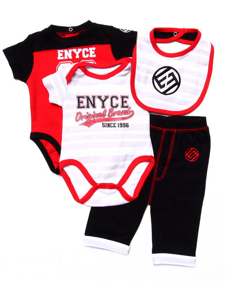 Enyce Boys Red 4 Pc Set 2 Bodysuits, Pants, & Bib (Newborn)