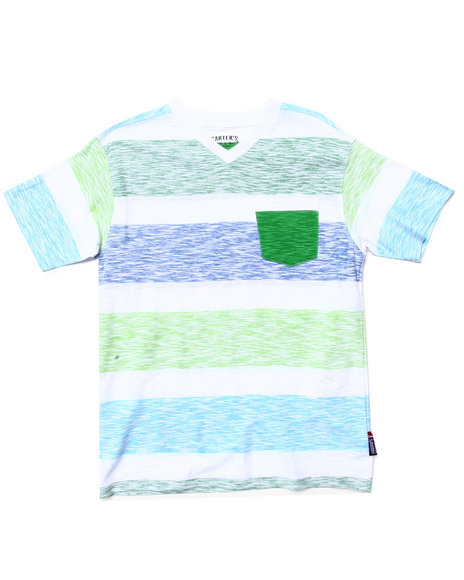 Arcade Styles - Boys Lime Green Reverse Print Stripe Pocket Tee (8-20)