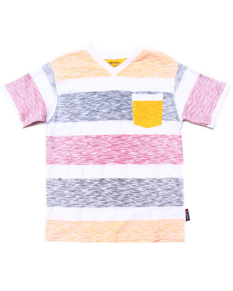 Arcade Styles - Boys Yellow Reverse Print Stripe Pocket Tee (8-20)