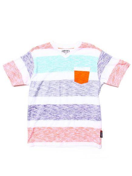 Arcade Styles - Boys Orange Reverse Print Stripe Pocket Tee (8-20) - $6.99