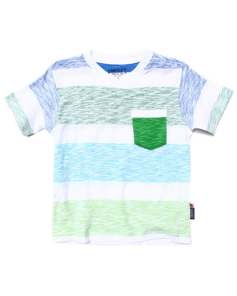 Arcade Styles - Boys Lime Green Reverse Print Stripe Pocket Tee (4-7)