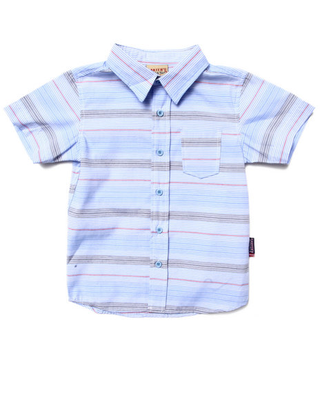 Arcade Styles - Boys Light Blue S/S Striped Shirt (4-7)