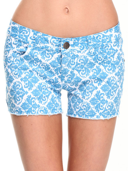 Fashion Lab - Women Blue Damask Wallpaper Print Frayed Short