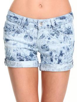 Fashion Lab - Crazy Wash  Cuffed Denim Midi Shorts w/ Flap Back Pockets