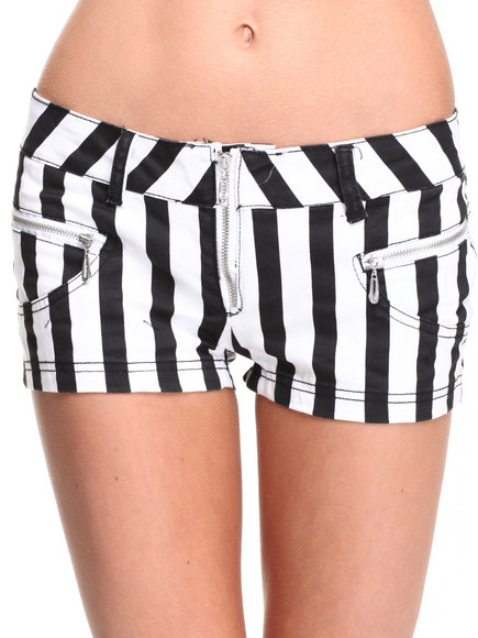 Fashion Lab - Women Black,White Robin Vertical Stripe Short