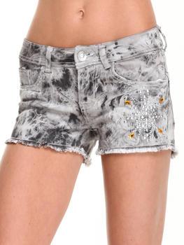 Fashion Lab - Rhinestone Sunburst Denim Short w/ Frayed Bottom