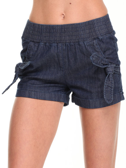 Fashion Lab - Women Dark Indigo Smocked Short W/ Bow Tie Pockets