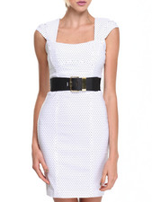 XOXO - Cap Sleeve Millenium Dot Belted Sheath Dress