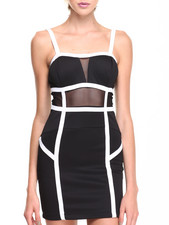 XOXO - Color Piped Sheer Waist Scuba Bustier Sheath Dress