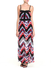 XOXO - Chevron Print Adjustable Strap Maxi Dress