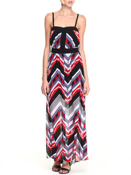 XOXO - Chevron Print Adjustable Strap Maxi Dress