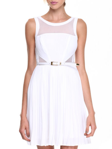XOXO - Mesh Insert Marilyn Pleated Belted Dress