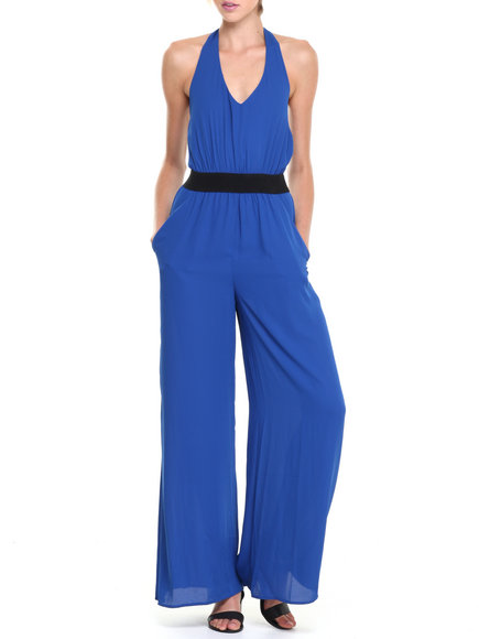 XOXO - Elastic Back Halter Top Wide Leg Jumpsuit