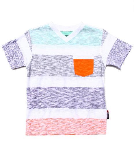 Arcade Styles - Boys Orange Reverse Print Stripe Pocket Tee (4-7) - $6.99