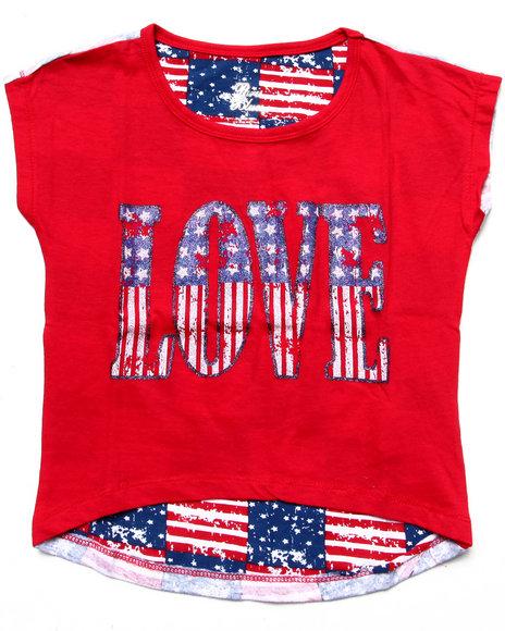 La Galleria - Girls Red Love Americana Tee (4-6X)