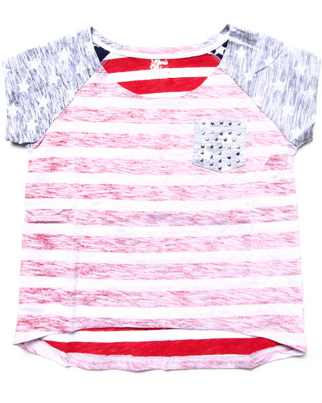 La Galleria - Girls Multi Hi Low Stars & Stripes Pocket Tee (7-16)