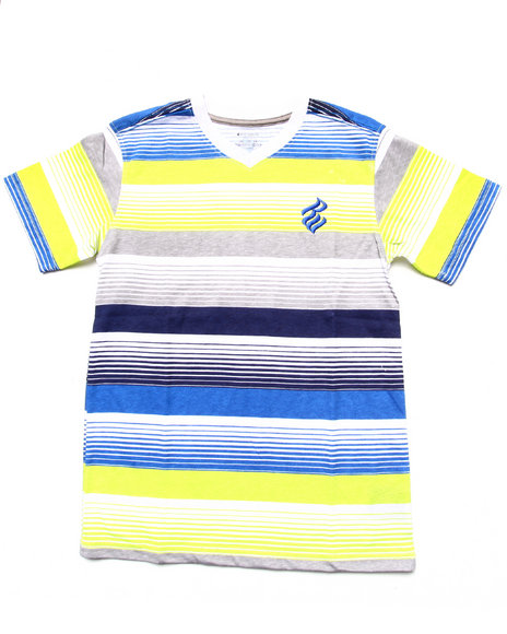 Rocawear Boys White Striped V-Neck Tee (8-20)