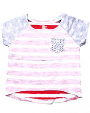 La Galleria - HI LOW STARS & STRIPES POCKET TEE (4-6X)