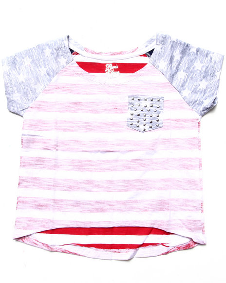 La Galleria Girls Multi Hi Low Stars & Stripes Pocket Tee (4-6X)