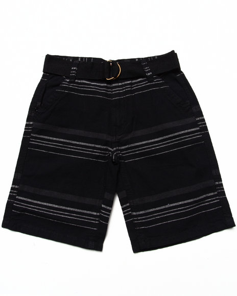 Arcade Styles - Boys Black Striped Belted Shorts (8-20) - $10.99