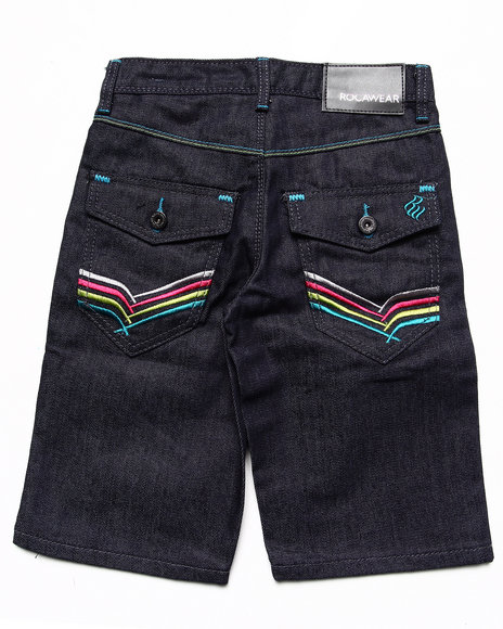 Rocawear - Boys Dark Wash Embroidered Flap Pocket Denim Shorts (8-20)